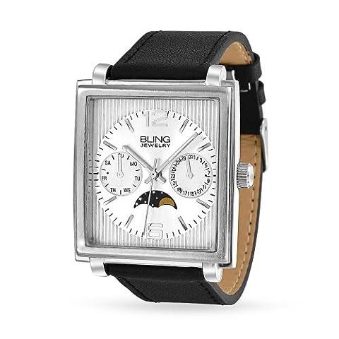 Bling Jewelry Mens Chronographe Phase lunaire de style Dos en acier inoxydable de cuir noir Watch