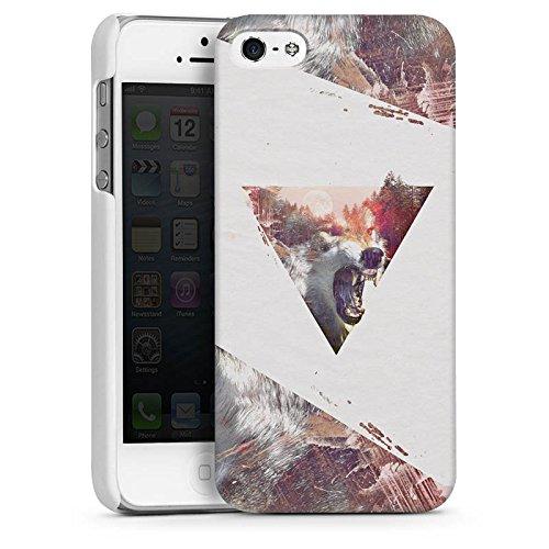 Apple iPhone 5s Housse Étui Protection Coque Hipster Loup Triangle CasDur blanc