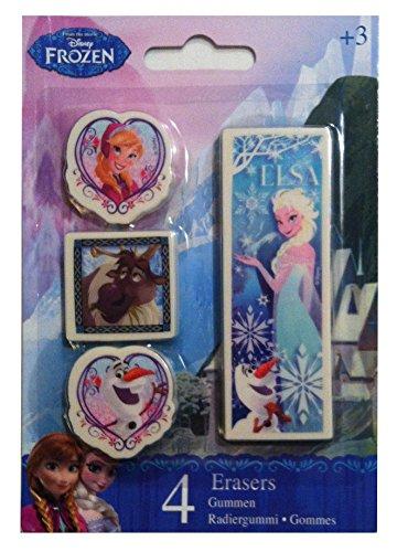 4 Disney Radiergummis Frozen mit Anna Elsa Olaf und Sven