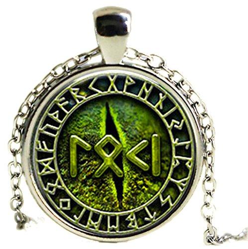 Collar Loki Rune–ojos de serpiente–Viking–Nórdico–verde