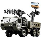 SHZJ Voiture TéLéCommandéE pour Adultes Et Enfants, Camion Militaire 1/16 RC 6x6 2.4G TéLéCommande avec CaméRa WiFi 4WD Chargeable Pick-Up Trucks pour Enfants Voitures Jouets Cadeaux
