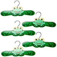 Kidorable Kids Set Of 5 Frog Wooden Hangers (Medium)