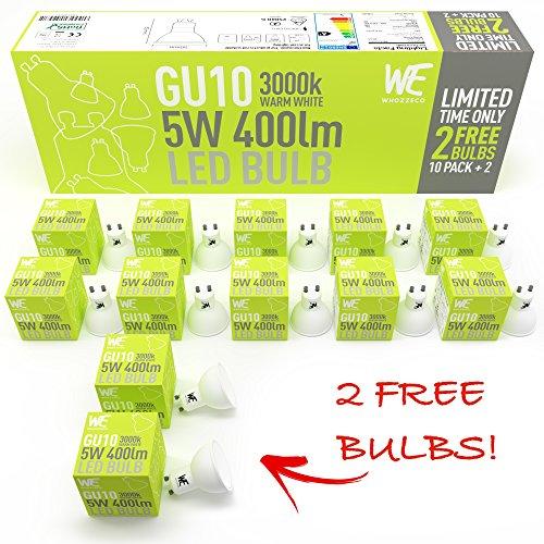 GU10 LED Glühbirnen 5w 12 Pack, Warm Weiß, GELD-ZURÜCK-Garantie, 3000k 400 Lumen äquivalent zu 50w Halogenstrahler, Einfacher Austausch, beste Glühbirne, UK-Lager - Natürliches Tageslicht Led-paket