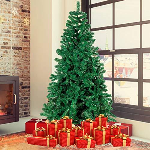 Albero di Natale Bianco Verde, Albero di Natale Artificiale in PVC Ignifugodi in Diverse Misure ( Verde, 1,8 Metri )