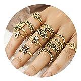 AMDXD 13 Stücks Ringe Set Damen Buddha Krone Elefant Blume Midi Ring Gold Ring Set Vintage