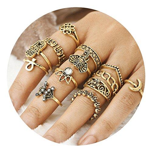 AMDXD 13 Stücks Ringe Set Damen Buddha Krone Elefant Blume Midi Ring Gold Ring Set Vintage (Blume Ring Gold)