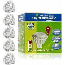 NT LED Lámpara Bombilla 12V Spot 6W / GU5.3 Casquillo / Equivalente a 35W Lámparas Incandescente / Luz Blanco Caliente 3000K / 345 lúmenes / Art. 103040 / 5 Unidades
