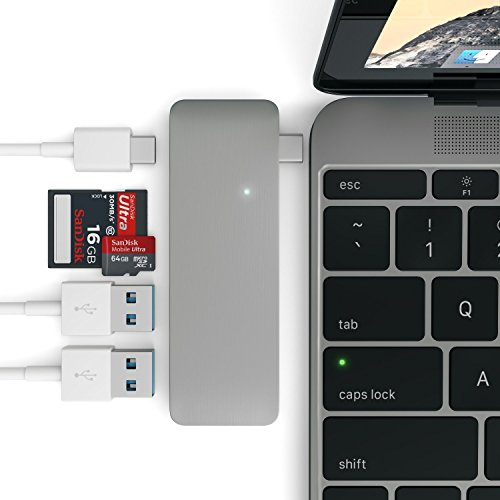 SATECHI Combo Hub 3-en-1 USB 3.0 Tipo-C de Aluminio con Paso de Carga USB-C Compatible con MacBook 12' (Gris Espacial)