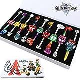 TOYS 9PCS Cosplay Kingdom Hearts 2Sora Key Sword Keychain Accessories Necklace Set