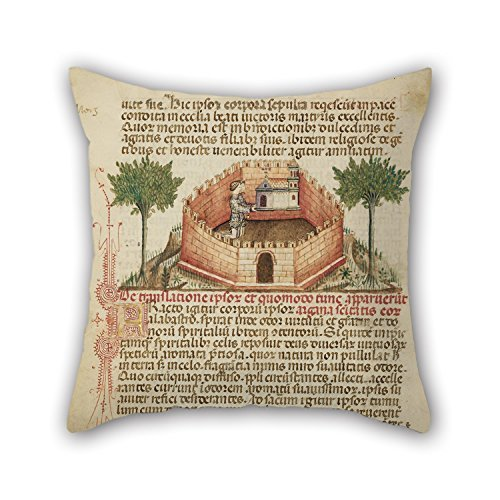 Oil Painting Attributed to Anovelo Da Imbonate (Italian (Lombard), Active About 1400) - Aimo and Vermondo Holding up The Church of Saint Victor Pillowcase,Best for Pub,Sofa,Shop,hom