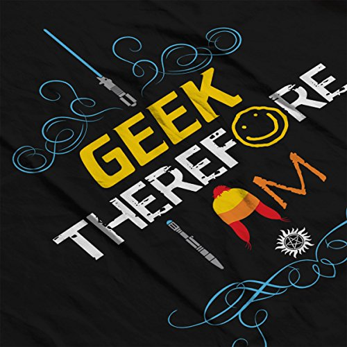 I Geek Therefore I Am Sci Fi Women's Hooded Sweatshirt Black