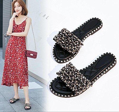 Arbeiten Sie Diamant Nieten Frauen flache Sandalen und Pantoffeln Wort Hemmschuhe Schuhe Flut Black