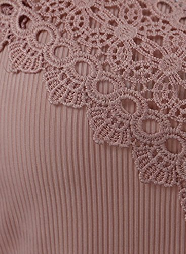 ACHICGIRL Women's Spaghetti Strap Solid Slim Fit Tank pink