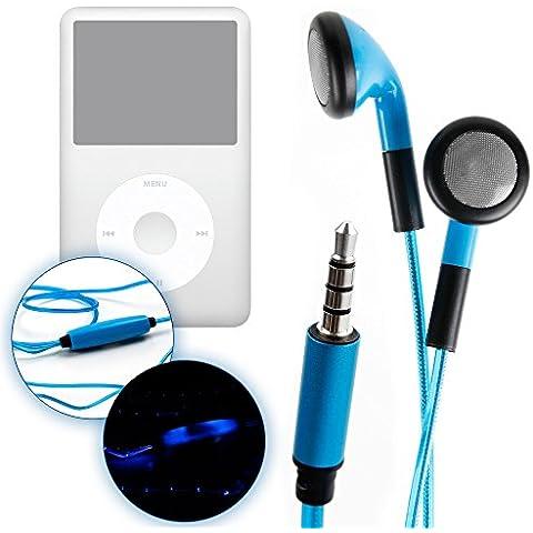 DURAGADGET Auriculares LED Azules Intrauditivos Para Apple iPod Classic + ¡Paño Limpiador! - ¡Brillan En La Oscuridad Al Ritmo De La Música!