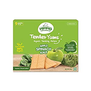 Mimmo Organics Tender Yums With Apple Spinach Kale Teething Wafers, 84 g