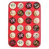 24Tasses en silicone Moule à muffins, Premium Mini Cupcakes plateaux cuisson Poêle anti-adhésive,/lave-vaisselle, sans BPA, DE Qualité alimentaire Moule silicone Matériau, Rouge par Xutong