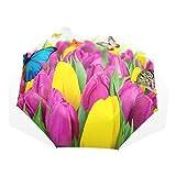 Coosun bunte Tulpen Blumen und Schmetterlinge benutzerdefinierte faltbare Sonne Regen Regenschirm windabweisende winddichte faltende Reise Regenschirm