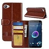 HualuBro HTC Desire 12 Hülle, Retro PU Leder Leather Wallet HandyHülle Tasche Schutzhülle Flip Case Cover mit Karten Slot für HTC Desire 12 Smartphone - Braun