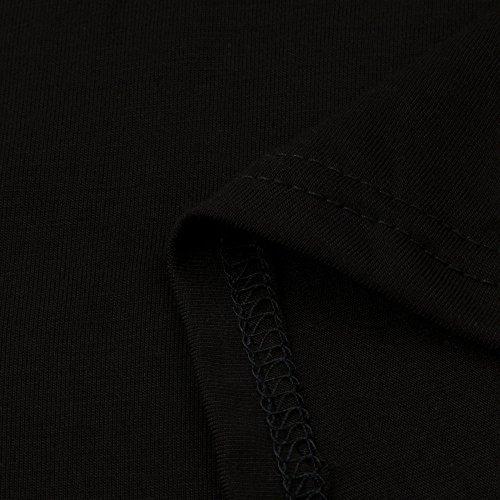 Letter Femmes Plus Size Tops manches longues O-cou Casual Floral Print Shirt Blouse Noir