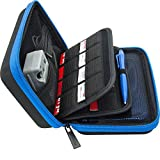 Brendo 3DS XL / 3DS Case with 24 Game Cartridge Holders and Large Stylus - Black/Blue