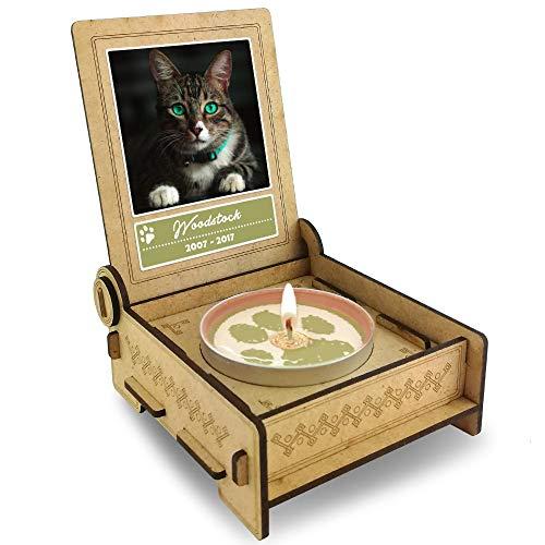 TROSTLICHT   Trauerkerze Katze   personalisiert mit Foto & mit Namen   Holz-Box mit Spruch & Pfote   Andenken Katze Erinnerung   Trauer Haustier (Spruch Engel) -