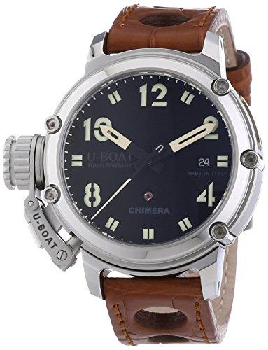 U-Boat Chimre 43en acier hommes de montre automatique avec affichage analogique et bracelet marron cadran noir 7226
