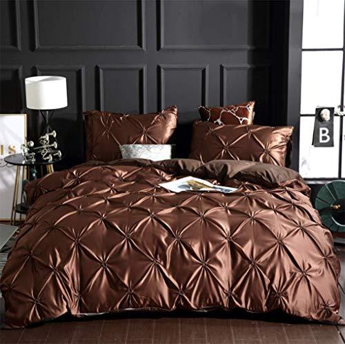 YUY Bettbezug-Sets, einfarbig, zeitgenössische Polyester Plissee 3-teilige Bettwäsche-Sets - Zeitgenössischer Polyester
