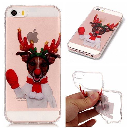 Noël Coque iPhone SE 5SE 5 5S LifeePro Ultra Mince Transparent Doux TPU Gel Silicone Antichoc Anti-rayures Full Body Étui Housse de Protection Christmas Cover pour iPhone SE 5SE 5 5S Santa Red Gloves Elk