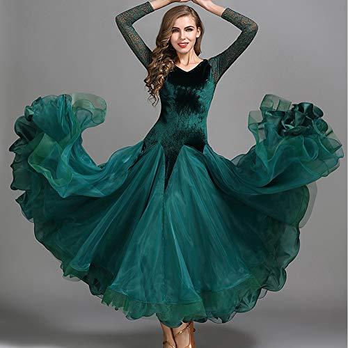 ZTXY Herbst Winter Classic Dance Kleid dunkelgrün Velvet Spleißen Organza Latin Bauchtanz Kostüm Lange Ärmel Tango Gesellschaftstanz Prom Kleid Plus Größe XL 2XL,S (Velvet Kleid)