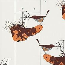 Birch Fabrics Tissu bio en popeline crème clair avec des oiseaux, des bottes