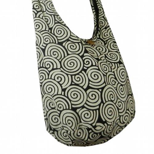 Thai cotone Hippie borsa a tracolla con tracolla Borsa da con Gypsy Swirl stampa Nero (Black SW4)