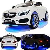 Mercedes-Benz CLA 45 AMG viele LED Effekte Soft Start Kinderauto Kinderfahrzeug Kinder Elektroauto schwarz-weiss-rot