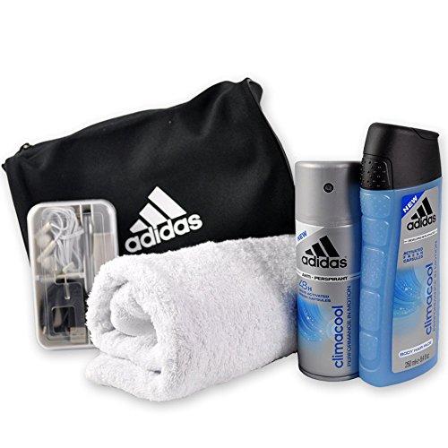 Männer Geschenk-Set Travel Man handverpackt mit adidas Kulturtasche inklusive Duschgel und Deospray sowie Smartphone Zubehör Set und praktischem Handtuch