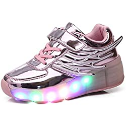 Meurry Unisex LED Light Roller Patín Zapatillas Niños Niños Niños Adultos Entrenadores al aire libre con una rueda Adulto Zapatos intermitentes Cumpleaños Halloween Regalo de Navidad (28 EU, Rosado)