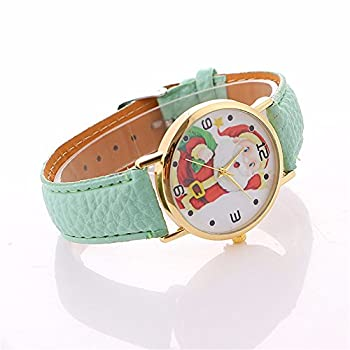 Christmas Quartz Watches,ulanda-eu Xmas Santa Claus Creative Pattern Analog Lady Wrist Watch Female Watches On Sale Watches For Women,round Dial Case Comfortable Leather Wristwatch Ss5 (Mint Green) 2