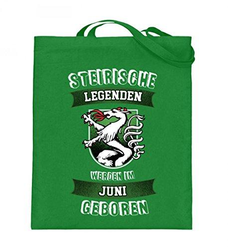 Hochwertiger Jutebeutel (mit langen Henkeln) - STMK - LEGENDEN - Juni Light Green