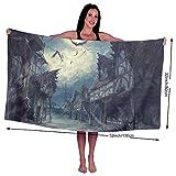 KSIY Street Clouds Night Moon House Halloween Horror Dark Fledermäuse Extra Large Soft Badetücher maschinenwaschbar Prime Clearance 81,3 x 137,1 cm