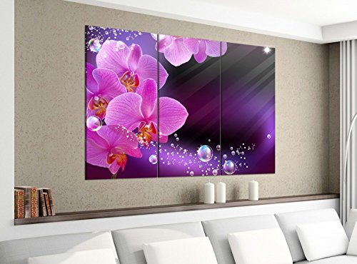 Leinwandbild 3tlg 120cmx100cm Orchidee Blume lila rosa Wasser Bilder Druck auf Leinwand Bild Kunstdruck mehrteilig Holz 9YA3177, 3 Tlg 120x100cm:3 Tlg 120x100cm