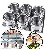 Stainless Steel Spice Jars Mit Verschiebung Und Gießen Deckel, Multi - Purpose Edelstahl Spice Gläser Gewürzdosen Runden Lagerung Gewürzregal Auch 6 pcs