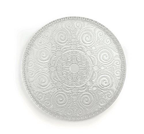 Excelsa Arabesque Plat à Servir, Verre, Transparent, 31 x 31 x 1 cm