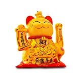Maneki Neko Winkekatze Glückskatze Glücksbringer Winkende Katze aus Porzellan,Gold, Big