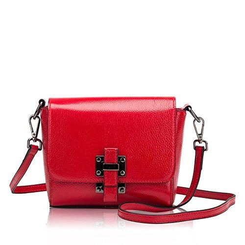 ANNE Borse in pelle Diagonal Square Mini Pacchetto Ragazze Red