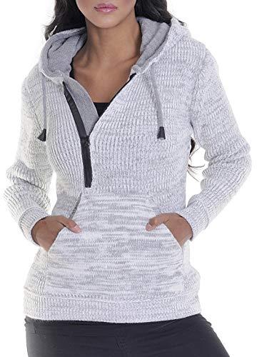 LEIF NELSON Damen Strick-Pullover | Frauen Basic Hoodie mit Kapuze | Damen Pulli Langarm-Sweatshirt | Das Beste in Kleidung Frauen LN10235 | Größe XS, Ecru-Grau
