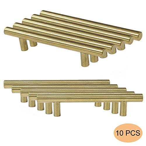 Probrico - 10tiradores de acero inoxidable dorados para armarios de cocina, puertas de armario o cajones (espacio entre centro de orificios: 96mm, longitud total: 160mm, PD1123HGD96)