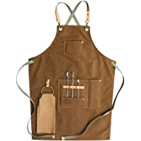 Grembiule in tela di cotone regolabile con incrocio sul retro dello chef barbiere grembiule con tasche per uomini e…