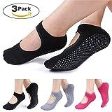 Yoga/Pilates/Barre chaussettes antidérapant Skid pour barre Pilates Ballet 3 paires de chaussettes en coton Taille EU 36-44