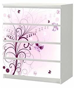 aufkleber f r ikea malm kommode 4 schubladen 80 x 100cm lila blume mit schmetterling. Black Bedroom Furniture Sets. Home Design Ideas