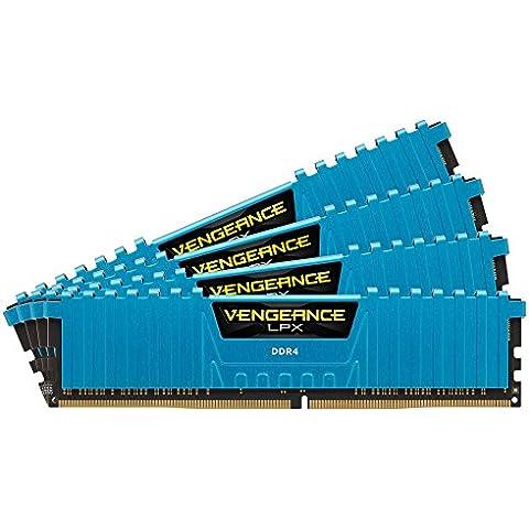 Corsair Vengeance LPX - Módulo de memoria XMP 2.0 de alto rendimiento de 32 GB (4 x 8 GB, DDR4, 2666 MHz, CL16), azul (CMK32GX4M4A2666C16B)