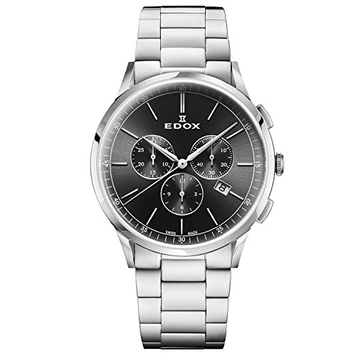 Edox Men's Les Vauberts 42mm Steel Bracelet & Case Quartz Watch 10236 3M NIN