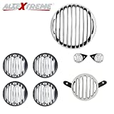 #9: AllExtreme Rear Customized Head light Heavy Grill Set Indicator, Parking, Tail Light Grill For Royal Enfield Classic350/500 - Silver & Black